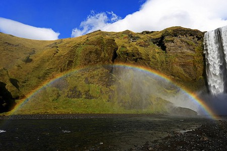 rainbow at Skogafoss waterfall