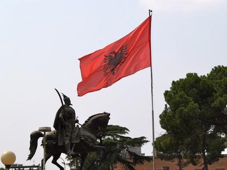 Skanderbeg statue in Tirana