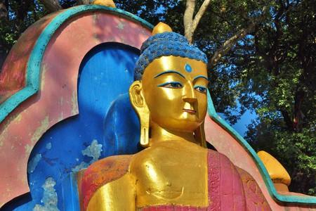 A Buddha statue at Swayambhunath stupa