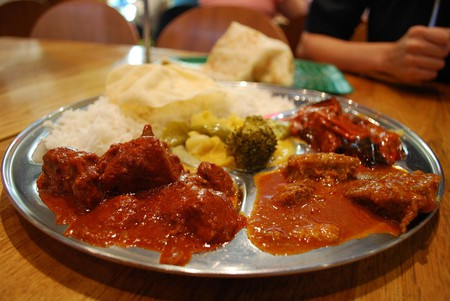 Rice with choice of curry such as mutton, chicken and various vegetables