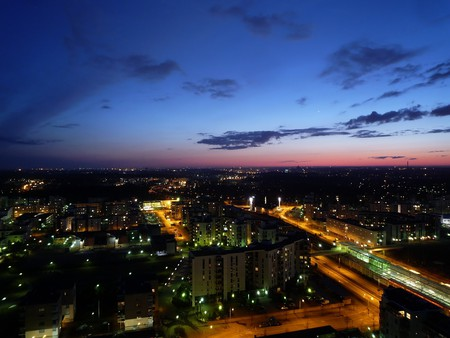 View of Helsinki at night.
