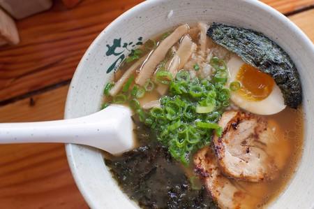 Choose from Shio, Tonkotsu, or Veggie Miso broth at Ramen-San.