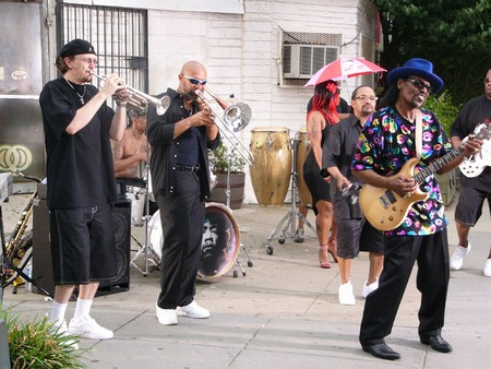 """Chuck Brown in 2007 recording his music video for """"Block Party"""""""