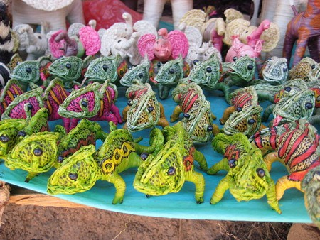 Raffia animals sold at market in Antananarivo