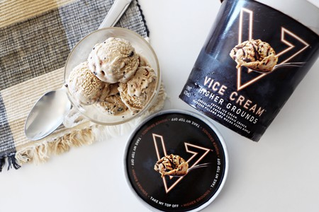 Vice Cream's Higher Grounds: coffee ice cream with a chocolate cookie crunch, espresso pillows, and a mocha fudge ripple
