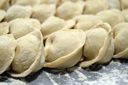 Some freshly made pelmeni