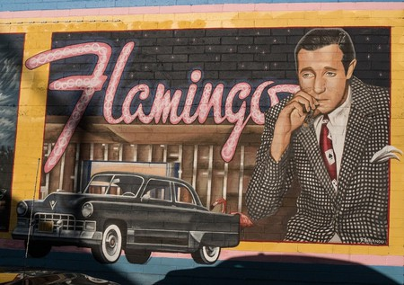 Mural of Bugsy Siegel and the Flamingo Casino in downtown Las Vegas