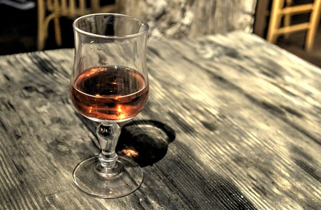 A glass of cognac, one of the most famous beverages of Albania