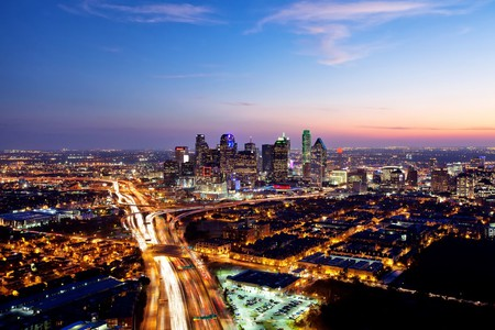The Dallas skyline at night is spectacular