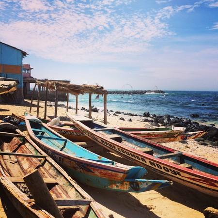 Fishermen's pirogues on one of Dakar's golden beaches