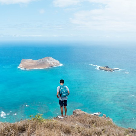 Hawaii hike with a view of Rabbit Island