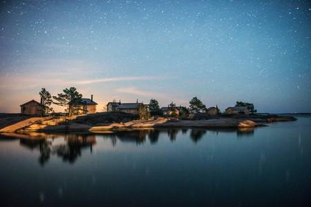 A starry night sky on the Finnish archipelago.