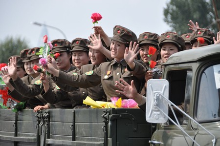 Female soldiers in a North Korean military parade