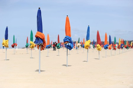 Parasols on the beach in Deauville
