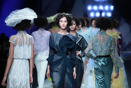 Models on the catwalk Grace Chen Fall Winter 2018 show