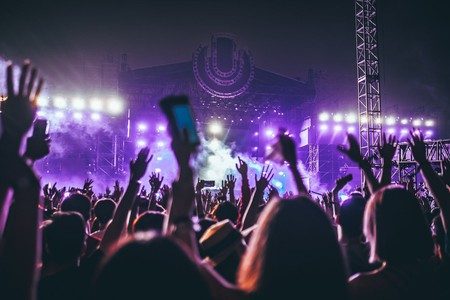 A crowd of festival-goers revel well into the night