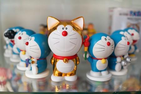 Figures of Doraemon on a store shelf