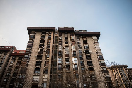 An apartment building at the town of Smederevo in Eastern Serbia