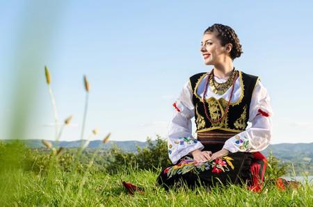 Girl wearing traditional Serbian clothing