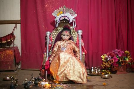 Living Goddess Kumari in her home