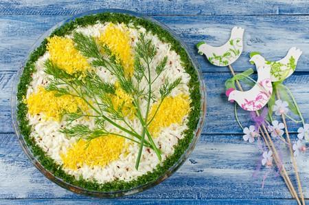 Mimosa salad with sardines