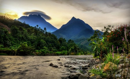View of Mount Kinabalu from Kota Belud, Sabah, Borneo