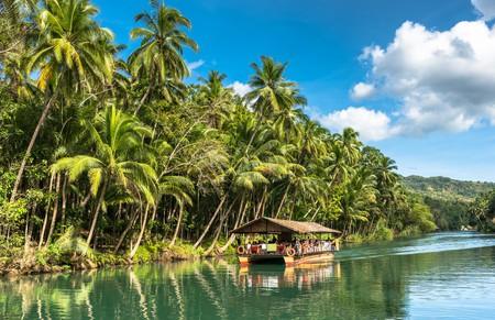 Traditional raft boat, Loboc at Bohol Island, Philippines