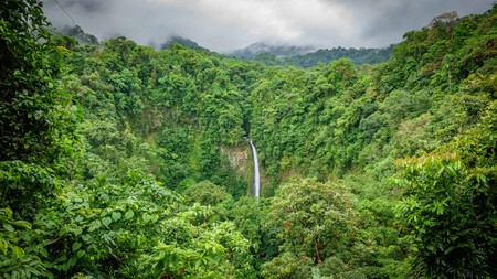 Wide angle view of La Fortuna de San Carlos waterfall in Arenal volcano national park, Costa Rica.