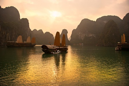 Ha Long Bay, dotted with thousands of limestone monoliths, is the most visited spot in all of Vietnam