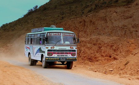Tata bus at Fewa Lake in Nepal