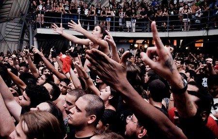 The crowd during a live performance at Circo Voador
