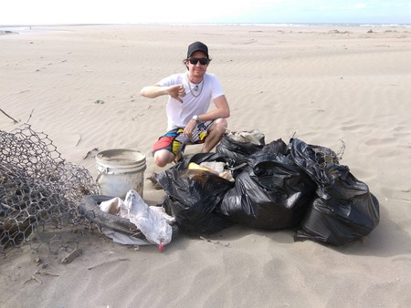 Subs co-founder Andrew Lambie with just a small part of a beach clean-up haul