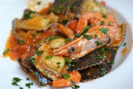 Italian ravioli with seafood
