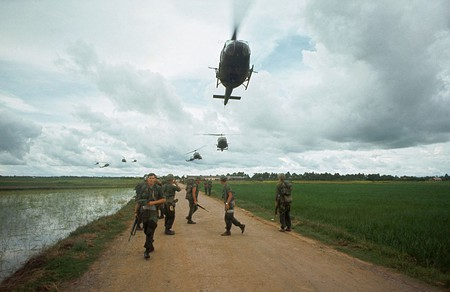 American troops awaiting helicopter transport south of Saigon, 1968