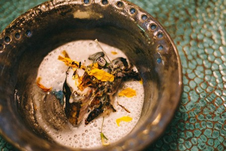Beautifully presented seafood dishes at Valle de Guadalupe restaurant, Corazon de Tierra