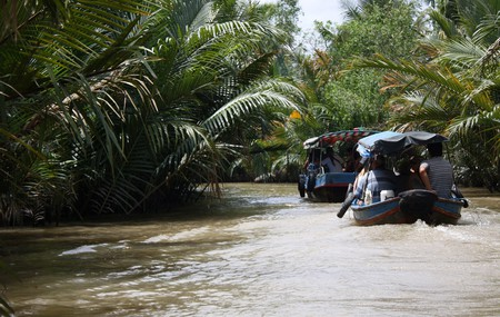 Boating down the river in Ben Tre, southern Vietnam