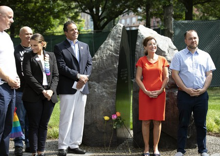 Governor Andrew M. Cuomo and Council Speaker Corey Johnson attend the unveiling of New York's first official LGBTQ monument on June 24, 2018, in Hudson River Park.
