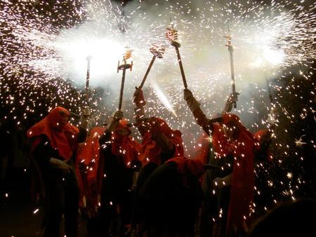 A 'correfoc' at the Festa Major in Gràcia