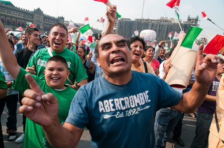Mexican fans celebrating in Mexico City in 2010