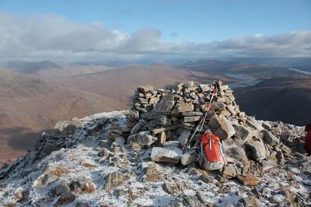 The summit cairn on Spidean Mialach, Scotland