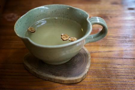 Traditional South Korean tea in a ceramic mug