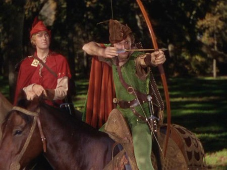 Patric Knowles and Errol Flynn in 'The Adventures of Robin Hood'