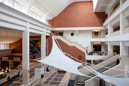 interior lobby British Library, St Pancras, London, England