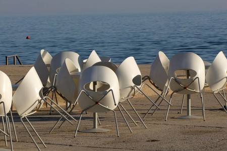 Enjoy outdoor dining overlooking the ocean in Helsinki.