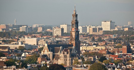 The Netherlands, Amsterdam, Aerial view from building called Toren Overhoeks. City center. Church called Westerkerk.