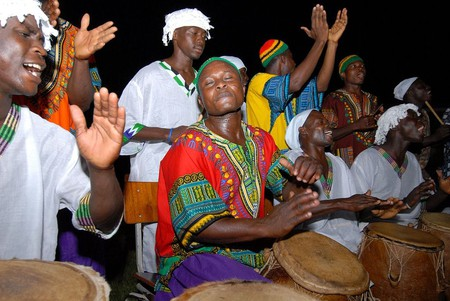 A group of drummers wearing dashiki in Accra, Ghana