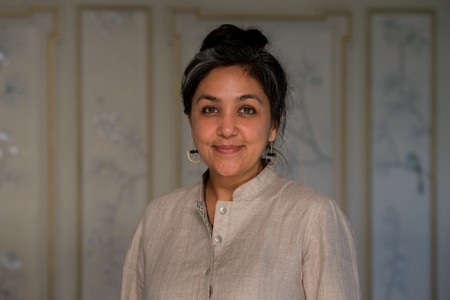 Preti Taneja at the 2018 Desmond Elliott Prize ceremony at Fortnum and Mason in London.
