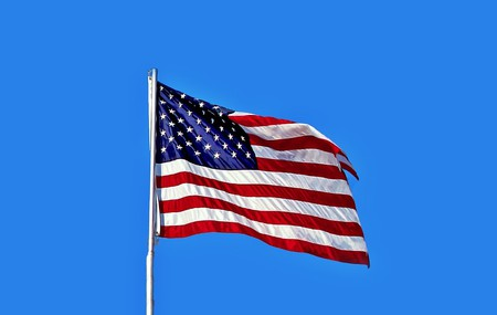 The current USA flag, which features 13 stripes and 50 stars