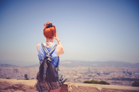 Girl travelling in Europe