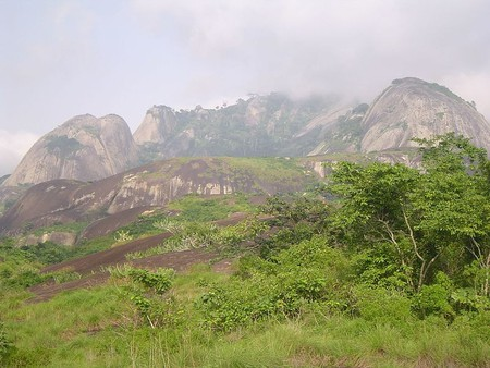Looking up from the bottom of Idanre Hills in Ondo State, Nigeria
